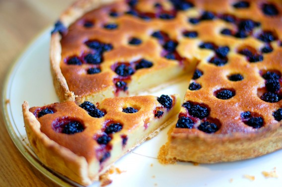 Blackberry Dots Almond Tart